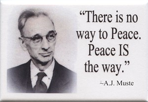 FM042 - There is no way to Peace. Peace IS the way - AJ Muste Quote Fridge Magnet