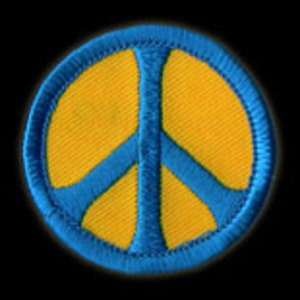 P012 - Blue on Gold Peace Embroidered Patch
