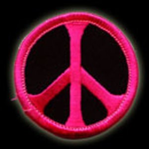 P014 - Pink on Black Peace Embroidered Patch