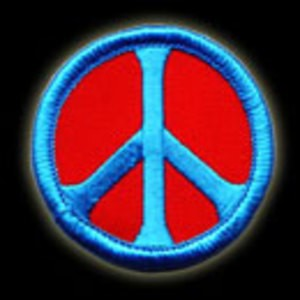 P015 - Blue on Red Peace Embroidered Patch