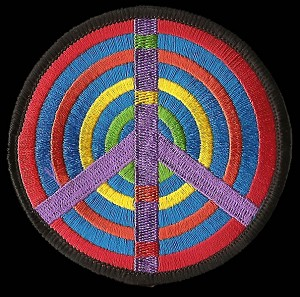 P163 - Rainbow Target Peace Sign Patch