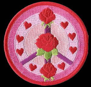 P168 - Roses And Hearts Peace Sign Patch