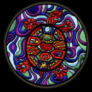 "P024 - Large  4"" Sacred Turtle Embroidered Patch Silk Embroidery Floss Stained Glass / Iron or Sewn-On"