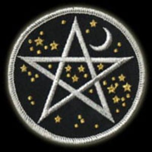 "P069 - Starfield Pentacle Star & Moon Embroidered 3"" Embroidered Patch"