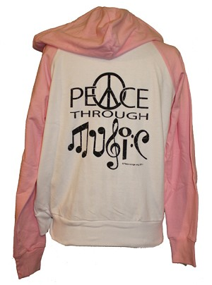 WHS002 - Peace Through Music Womens Long Sleeve Zipper Hoodie Hooded Sweatshirt