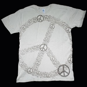 T075 - Peace Symbols in Full Frontal Peace Symbol T-Shirt