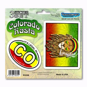 RG057 Colorado Rasta Ganja Legalized Cannabis Pot Leaf Dread Lion 3 Sticker Set