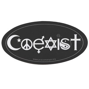 RS001 - Coexist Symbols Original Reflective Oval Mini Bumper Sticker