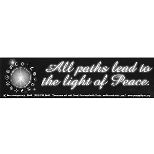 S013 - All Paths Lead to the Light of Peace Large Bumper Sticker