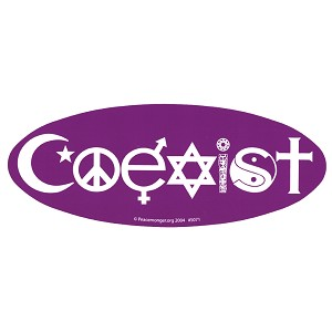 S071-MAG Coexist Oval Bumper Sticker Magnet Peace Symbol Yin Yang