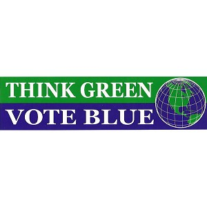 S350 - Think Green Vote Blue Bumper Sticker