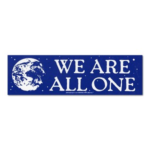 S567  We Are All One Quote in Space Universal Love Peace Quote Bumper Sticker