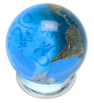 SV05 - Peace in 37 Languages Aqua Globe