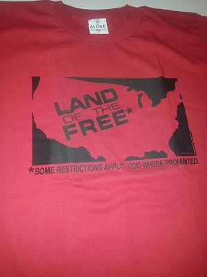 T031R - Land of Free Shirt Black on Red