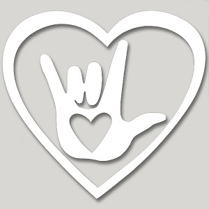 V009 - Love Hand Sign with Sacred Spiral Heart Vinyl Cutout Window Sticker