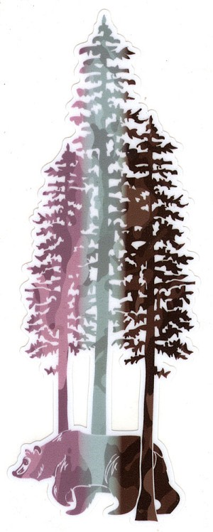 V077-CAMO - Walking Bear in Giant Redwood Trees Vinyl Cutout Decal