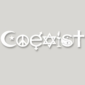 VL009 - COEXIST Original SymbolGlyph Large Vinyl Cutout Window Sticker