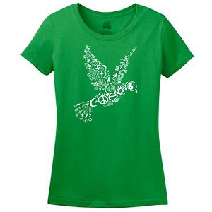 WT004 - Coexist Peace Dove Interfaith Womens Fitted T-Shirt